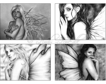 ACEO Print Pack Goth Emo Fairy Corset Girl Black White Angel Art Zindy Nielsen