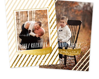 INSTANT DOWNLOAD 5x7 Christmas Card Photoshop Template - CA515