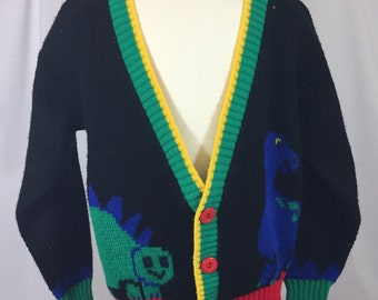 Boys Vintage Cardigan Sweater - Size Youth Small - Approx. 6 years - Vintage Dinosaur Sweater - Dinosaur Cardigan - Boy's Vintage Sweater