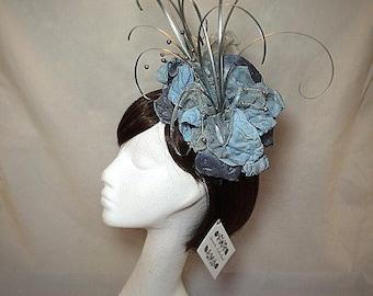 Blue fascinator, silver fascinator, aqua hat, flower headband, wedding hat.