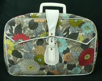 Vintage 1960's Retro Mod Flower Suitcase Excellent Condition Made in Japan