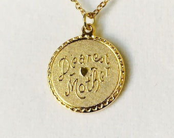 "Dearest Mother pendant, layering necklace, vintage pendant, 3/4"" diameter gold plated pendant with an 18"" long gold overlay link chain"