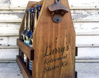 Retirement Gift Wooden 12oz Beer Caddy