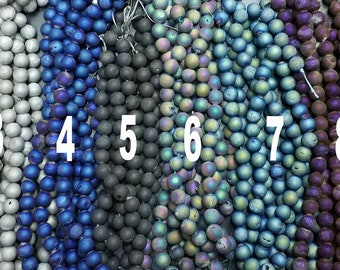 Matte Metalic Druzy Agate 10mm Round Beads- 38pcs/Strand- blue green purple gold silver rainbow champagne gray bronze