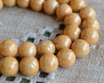 33pcs 12mm Riverstone Light Brown Gemstone Beads Round 16 Inches Strand