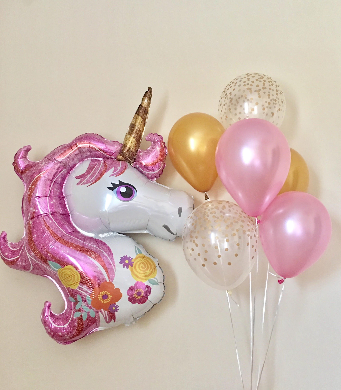 Unicorn Jumbo BalloonPink And Gold Unicorn PartyPink And