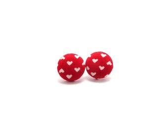 Red heart earrings - Valentine's Day earrings - heart fabric button studs - red earrings - heart earrings - hypoallergenic studs