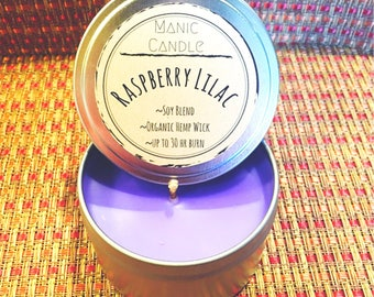 STRONG SCENTED TIN candle Raspberry Liliac 8 oz travel 30 hr