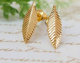 Gift For Women, Gold Jewelry, Wedding Post Earrings, Simple Gold Jewelry, Gold Stud Leaf Earrings, Nature Inspired, Gold Leaf Stud Earrings