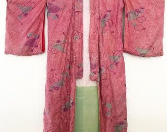 Antique silk 1920s pongee kimono robe