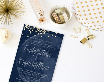 Moon and Stars Printable Wedding Invitation Suite. Custom Navy and Gold Invitation. Modern Invitation and Reply card. Lunar Night Sky.