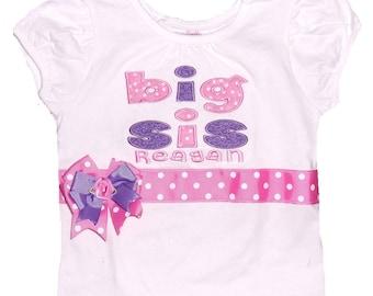 Personalized Big Sister Shirt, Pink Purple Big Sister Shirt, Embroidered Big Sister Shirt, Monogrammed Big Sister Shirt, Big Sis