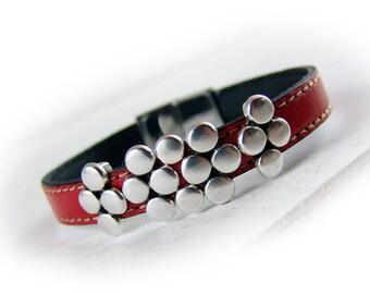Lederarmband rot silber Edelstahl - Leder Armband - Geschenk für Sie Ehefrau beste Freundin Schwester Mutter