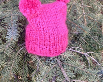 Child's Double Pompom Knit Toque – Raspberry Pink