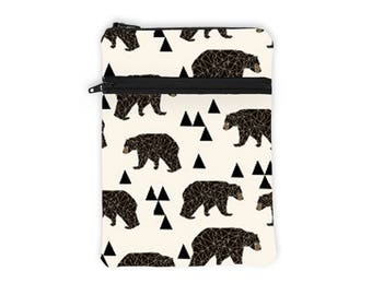iPad Pro 10.5 Sleeve, Bear Tablet Cover, Woodland Kindle Cover, Asus Padded Sleeve, Galaxy Tab Zip Case - brown bears and triangles in cream