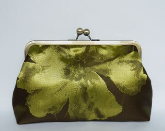 Floral Clutch Purse, Clutch Bag,  Floral Wedding Clutch Bag, Bridal Clutch, Floral Clutch, Evening Clutch, Green and Brown Bag
