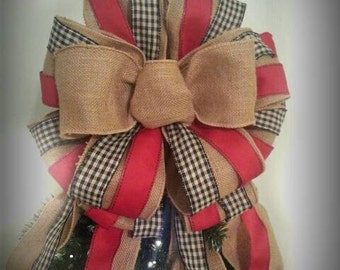 Tree topper bow, burlap tree topper, black and red tree topper, gingham, rustic tree bow, primitive bow, country bow, Christmas tree topper