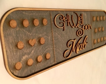 Laser cut and Engraved Wood Get Well Soon Bandaid Sign with Engraved Details and Personalized Message Option