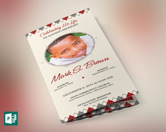 Argyle Tri-fold Funeral Program Publisher Template