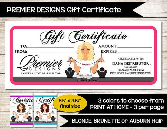 Premier designs gift certificate customizable custom premier designs gift certificate customizable custom jewelry coupon unique direc sales vendor event show print at home yadclub Image collections
