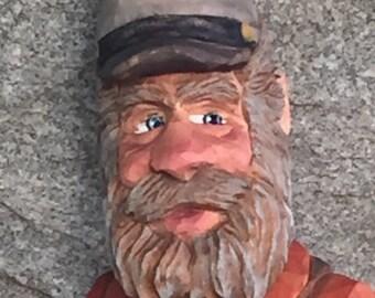 Hand carved Civil War bust folk art home decor country art