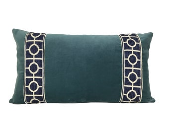 Blue Lumbar Pillow Cover with Blue and White Trim
