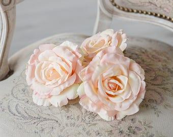 "Soft Pink Roses 10 Very Beautiful Roses Silk Flowers Silk Rose Artificial Flowers 5.3"" DIY Wedding Decor Hair Accessories Flower Supplies"