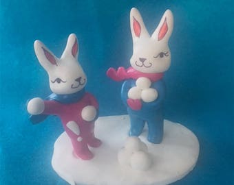 Miniature Bunny Snowball Fight, Adorable Bunny Kids Gift, Cute Bunny Diorama, Bunny snowball scene