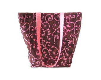 Batik Tote Bag, Brown Cloth Purse, Pink Scroll Batik Fabric, Handmade Handbag, Shoulder Bag