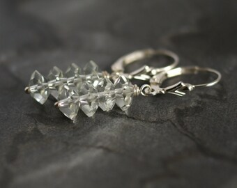 Green amethyst earrings, prasiolite earrings, amethyst jewelry, sterling silver lever back ear wires, amethyst gift for her, wedding jewelry