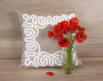 Cool embroidered sheet, Bruges crochet tape lace pillow, grey white handmade decorative pillow cover 22 x 22 (53 x 53 cm) ~ chic shabby