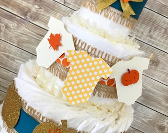 Fall Baby Shower Diaper Cake in Burlao, Teal and Gold, Little Pumpkin Baby Shower Centerpiece