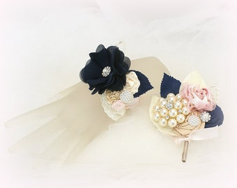 Wedding Groom Boutonniere and Wrist Corsage Navy Blue Blush Pink Ivory Champagne Elastic Lace Corsage Prom Elegant