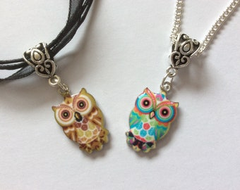Enamel owl charm necklace, silver plated organza cord chain girls jewellery stocking filler party bag gift