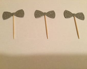 Silver glitter bow tie cupcake toppers wedding bachelor party engagement, silver bow tie little man birthday or baby shower