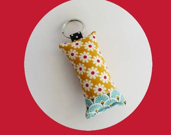 Mustard yellow flowers fabric key fob / turquoise scales