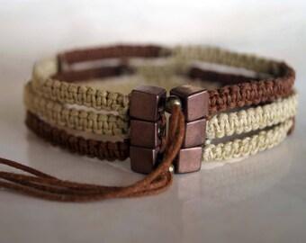 Copper and Beige Macrame Pattern Bracelet, Boho Bracelet, Mens Bracelet, Unisex Friendship Band, Macrame Cuff