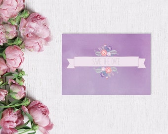 Lavender Save The Date Cards for Shabby Chic Weddings / Watercolor Paper w/ Flowers / Purple or Lilac Weddings / PRINTED