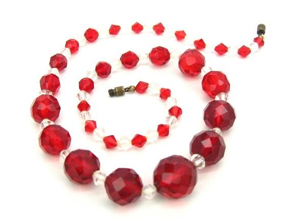 Vintage Art Deco Red Czech Glass Bead Choker Necklace. 1930s Jewelry.