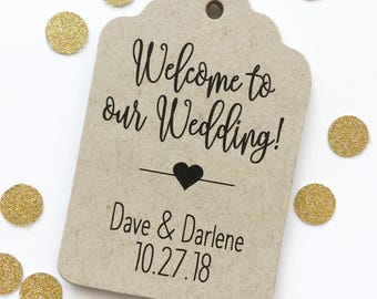 Welcome to Our Wedding Kraft Cardstock Wedding Tags, Wedding Favor Tags, Favor Tags, Party Favor Tags (ST-219-KR)