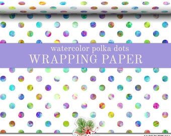 Watercolor Polka Dots Wrapping Paper | Pastel Watercolor Polka Dot Gift Wrap Matte Finish 9 ft. or 18 ft. Rolls For Any Occasion.