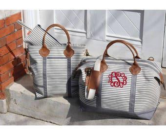 Monogram Weekender Bag With Grey Stripes| Monogrammed Overnight Dufflel| Personalized Canvas Duffel Bag| Monogrammed Luggage| Monogram Tote