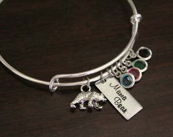 Mama Bear Bangle - Mother Bracelet - Mother Gift - Mama Gift - Mama Bracelet - Birthstones - Bst/In