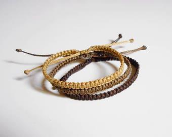 Men bracelet, macrame bracelet, stackable bracelet, adjustable bracelet knotted, cord bracelet, surfer bracelet, brown bracelet bff