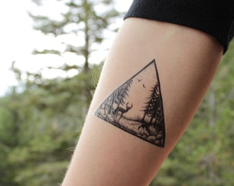 triangle mountain pine forest scene temporary tattoo black. Black Bedroom Furniture Sets. Home Design Ideas