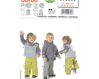 Baby Toddler Boys Hoodie Jacket Pants 6M to 3 Sewing Pattern Burda 9716