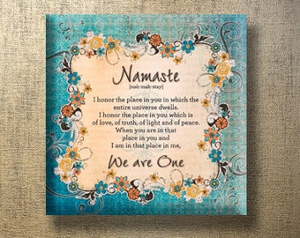 Namaste Contemporary Print 12x12 Gallery Wrapped Canvas -  Orange Brown Green Blue Variegated
