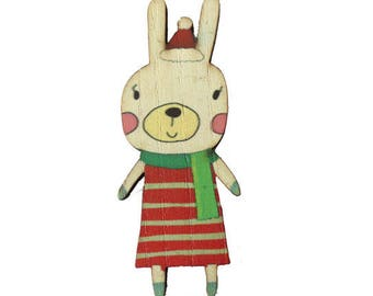 Vintage winter wood print - 56x33mm - Bunny