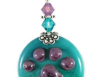 Turquoise, Purple, Pawprint, Handmade, Glass Lampwork Pendant, SRAJD, DUST Team, LE Team