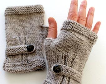 Knit Fingerless Gloves Men, Arm Warmers Dark Beige, Hand Warmers Unisex, Buttom Gloves Wool, Winter Accessories, Lover Gift, Father's Day